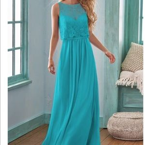 B2 Jasmine Teal Lace and Chiffon Long Gown